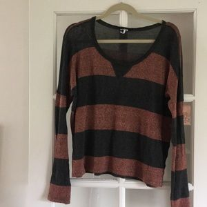 Splendid Grey and Shimmery Rust Sweater